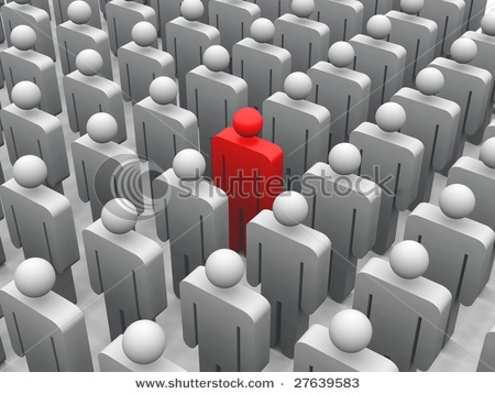 Stock-photo--d-render-of-a-red-figure-standing-in-a-crowd-27639583